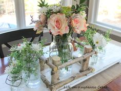 Glass jar centerpiece - Life on Kaydeross Creek