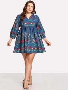 d2992ee004 V Cut Front Lantern Sleeve Embroidered Smock Dress -SheIn(Sheinside) Dress  P