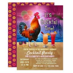 #party - #Cocktail Party Tropical Rooster Funny Birthday Card