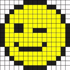 Winky Face Perler Bead Pattern / Bead Sprite
