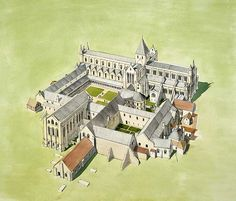 rievaulx abbey, yorkshire, england. reconstruction.
