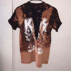 Vintage distressed kiss lace up tee Vintage kiss tee with lace up-made by me❤️✨ Yeezy Tops Tees - Short Sleeve