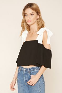 F21 Contemporary - A woven, crop top featuring an off-the-shoulder neckline, contrast straps with self-tie ribbon accents, and short sleeves with elasticized trim.