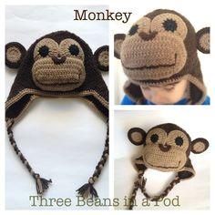 Monkey Beanie - custom listing - by threebeansinapod on madeit