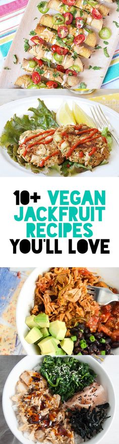 In this post you'll find 10 Vegan Jackfruit Recipes you'll love! Ranging from jackfruit carnitas to pot pies spring rolls crab cakes to fried chick'n! Delicious Vegan Recipes, Raw Food Recipes, Vegetarian Recipes, Cooking Recipes, Healthy Recipes, Vegan Recipes Jackfruit, Soup Recipes, Recipies, Vegan Main Dishes