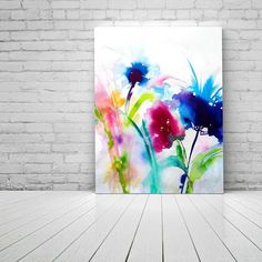 Colorful Abstract Wild Flowers Fine Art Print Ink Painting