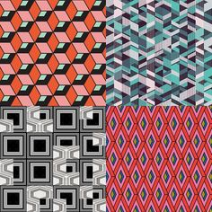 Sharp geo inspired Patternbank Studio Designs by Yordanka Poleganova, Urban Rabaglio, Simonetta De Simone, Amy Mathews.