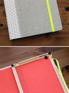 Completely custom iPad cases that look like a book - choose the colors, patterns and engrave your name. Fun gift idea!