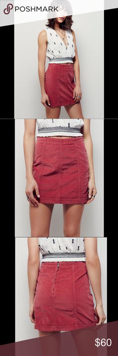 FREE PEOPLE corduroy pink skirt nspired by decades past, this A-line corduroy skirt is in a modern fit. Back zip closure. 851143 Still full price at Free People and almost sold out in this color!  Retail: $50 Size: 2 (small and small listed for size comparison)  ❤I have over 300 new with tag Free People & More items for sale! I love to offer bundle discounts!  ❤No trades. I no longer discuss pricing in comments. Please use offer button to submit offer! 😊 Free People Skirts Mini