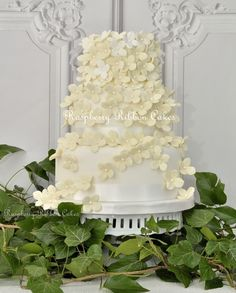 Raspberry Ribbon Cakes #ivory #wedding #cake with handcrafted ivory sugar hydrangea