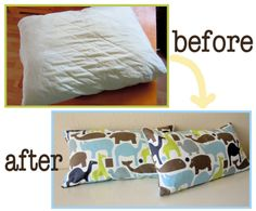 DIY Throw Pillows from old pillows.