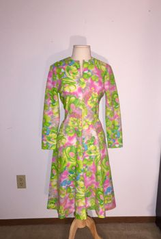 ea43dbc6119c Vintage 1970's knit pink and green flowered A- line dress. Mint condition.  Double