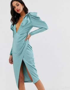 Find the best selection of ASOS EDITION satin plunge midi dress with pintuck shoulder. Shop today with free delivery and returns (Ts&Cs apply) with ASOS! Asos, Pop Fashion, Skirt Fashion, Fashion Night, Fashion Fall, Womens Fashion, Wrap Dress, Dress Up, Fancy Dress