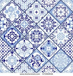 Vintage seamless pattern in Portugal style. Azulejo. Seamless patchwork tile in blue and white colors. Endless pattern can be used for ceramic tile, wallpaper, linoleum, textile, web page background