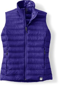 With down insulation and a weather-resistant nylon exterior, the REI Co-Op Down Vest for women will be your go-to piece for a range of temperatures and activities. Purple Vests, Down Vest, Sapphire, Coats, Purses, My Style, Jackets, Closet, Shoes