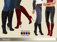 Velvet boots - The Sims 4 Catalog Sims 4 Cas, Sims Cc, Maxis, Velvet Boot, Sims 4 Cc Shoes, Sims 4 Cc Packs, Sims 4 Cc Skin, Sims4 Clothes, Sims Four