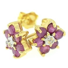 Yellow Gold Genuine Ruby & Diamond Stud Earrings (scheduled via http://www.tailwindapp.com?utm_source=pinterest&utm_medium=twpin&utm_content=post51391996&utm_campaign=scheduler_attribution)
