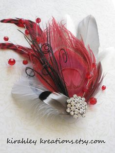 AMORE Ruby Red Peacock Bridal Wedding by KirahleyKreations