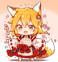 Chibi Senko, because we all need one : SewayakiKitsune Anime Wolf, Anime Neko, Manga Anime, Anime Art, Neko Kawaii, Loli Kawaii, Cute Neko Girl, Chibi Characters, Chibi Girl