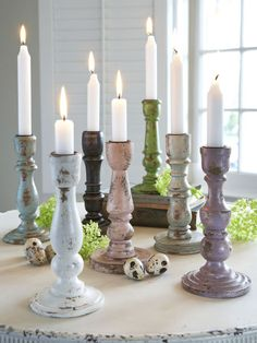 Distressed Wooden Candle Holders ~ Can one have too many candle holders? ჱ ܓ ჱ ᴀ ρᴇᴀcᴇғυʟ ρᴀʀᴀᴅısᴇ ჱ ܓ ჱ ✿⊱╮ ♡ ❊ ** Buona giornata ** ❊ ~ ❤✿❤ ♫ ♥ X ღɱɧღ ❤ ~ Fr Feb 2015 Floor Candle Holders, Wooden Candle Holders, Candle Stand, Candlestick Holders, Candlesticks, Candle Lanterns, Diy Candles, Scented Candles, Fall Home Decor