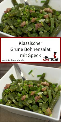Grüne Bohnen Salat mit Speck This delicious and super classic green bean salad with bacon is quick and easy to make and perfect as a summer dinner or as an accompaniment to a barbecue with friends. The recipe for the fresh salad is here on katha-kocht! Green Bean Salads, Green Bean Recipes, Green Beans, Southwest Salad Recipe, Vegetable Recipes, Chicken Recipes, Plat Simple, Lard, Salad Recipes For Dinner