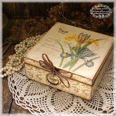 Big Box for jewelry Iris Vintage look wooden box by Alenahandmade, $45.00