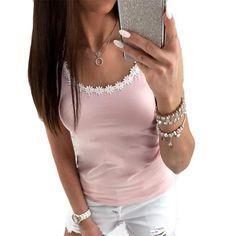 0bc4ba5cd5b Floral Lace Tank Top For Women Cotton Slim Cropped Plus Size