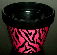 Hand Painted Planter Pot  Zebra by BigTRanchSoap.etsy.com