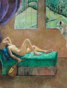 Balthus, Jeune fille à la mandoline, c. 2000–01 (detail), oil on canvas, 74 13/16 × 98 7/16 inches (190 × 250 cm).