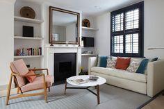 fireplace + shelves
