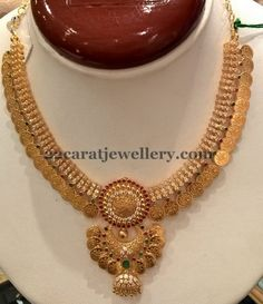 Jewellery Designs: Kasu Necklace with CZs