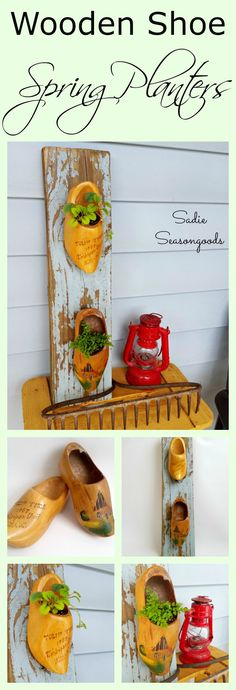 Vintage wooden shoes can be repurposed into holders of many things...but in this case, they become part of a quirky, eclectic Spring vignette for my front porch. I upcycled these souvenir wooden shoes from Holland, Michigan as planters and aren't they adorable?? #SadieSeasongoods / www.sadieseasongoods.com