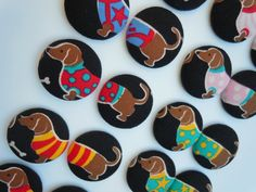 Set of 4 Dachshund Fabric Covered Button Magnets by HookedonArtsNCrafts on Etsy