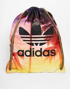 Adidas Originals Drawstring Backpack in Palm Print
