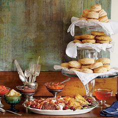 Biscuit Buffet    Set up your biscuit buffet with one or all of our homemade biscuit recipes. Add a big platter of thick-cut bacon, sliced country ham, piled-high sausage patties, and crispy chicken cutlets. Then round out the selection with our flavorful butters and delicious topping combinations.