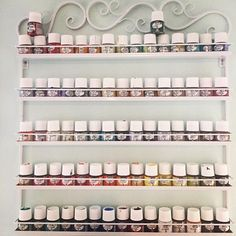 They ::almost:: all fit!! #studio #organization #diy @pebeo Use Nail Polish organizers to corral your paints!