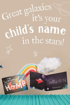 Fly past your child's name in stars. Meet fantastic, intergalactic new friends. Whoosh past a local landmark, and finally hover over home. All in one incredible, personalized storybook. Phew! Create an epic adventure for your child, in moments, today!