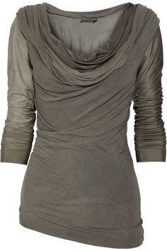 Donna Karan draped jersey and satin-jersey rayon top.