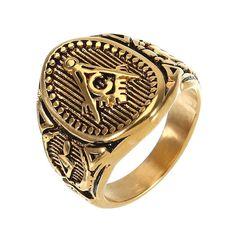 Vintage Stainless Steel Men's Ring Free-Mason Logo Finger Ring for Men at Banggood
