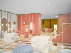 <p>Paris-based architect and designer India Mahdavi is behind the interior of the latest REDValentino boutique, located on Sloane Street. The 170 square meter store features a great brass and glass fa
