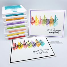 Music from the Heart rainbow card by Dawn Olchefske Birthday Cards For Friends, Funny Birthday Cards, Diy Birthday, Homemade Birthday, Birthday Gifts, Rainbow Card, Rainbow Paper, Stampin Up Karten, Stampin Up Cards