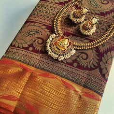 Maroon silk saree #Indian #Jewellery
