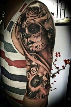 Best Sleeve Tattoos, Body Art Tattoos, New Tattoos, Tattoos For Guys, Tattoos For Women, Tribal Tattoos, Sugar Skull Mädchen, Sugar Skull Girl Tattoo, Sugar Skull Sleeve