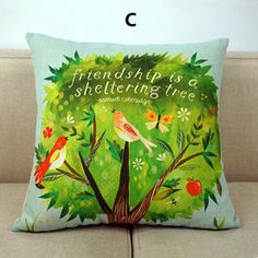 Bird throw pillow pastoral style linen cushions 18 inch