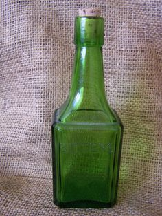 Vintage Glass Bottle Green Bitters Wheaton
