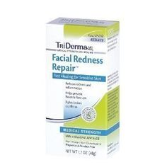 Facial Redness Repair 1.7oz (Pack of 2) by TriDerma. $19.99. Facial Redness Repair 1.7oz (Pack of 2). Helps reduce redness and inflammation. Helps prevent Rosacea flare-ups. Fights broken capillaries. Non-Greasy, Non-Comedogenic, Fragrance and Paraben Free. This highly specialized non-greasy cream provides results like those from a Dermatologist. It contains professional strength anti-inflammatory ingredients, vitamins, carefully selected botanicals and proven healing es...