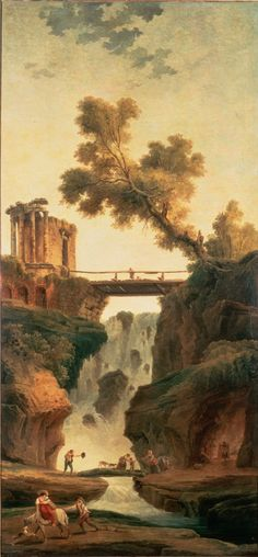 Landscape with a Waterfall and figures - Hubert Robert - Canvas Artwork European Paintings, Classic Paintings, Landscape Art, Landscape Paintings, Building Painting, Painting Wallpaper, Environment Concept Art, Mural Art, Renaissance Art
