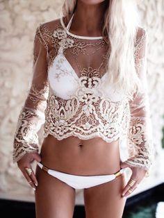 Sheer Lace long sleeve crop with white #bikini. Boho beach summer fun hippy bohemian chic