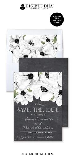 Save the Date Cards | Rustic Boho Chic black & white chalkboard invitations with white anemones.  Classic elegant script.  Matching white anemone envelope liners, color envelope options, and full wedding invitations suite also available.  Celebrate life, love, and babies with Digibuddha Invitation + Paper Co.
