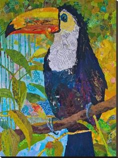 DENY Designs Elizabeth St Hilaire Nelson Toucan 1 Indoor/Outdoor Square Tray, 12 x 12 Paper Collage Art, Paper Art, Find Art, Art Plastique, Stretched Canvas Prints, Elementary Art, Art Lessons, Art Projects, Artwork